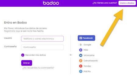 badoo iniciar sesion con cuenta facebook