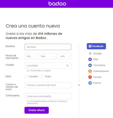 Formulario de registro de Badooo que deberá completar